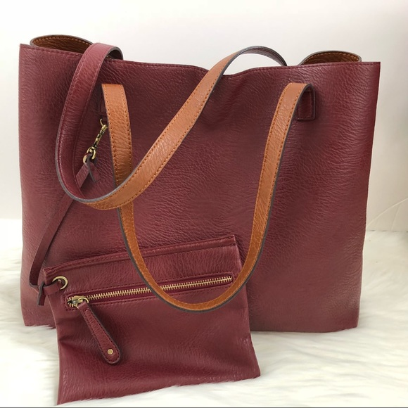 1e70c015c5 Vegan Leather Tote & Wristlet Reversible Red Tan. M_5a37bd06a825a67689044b24